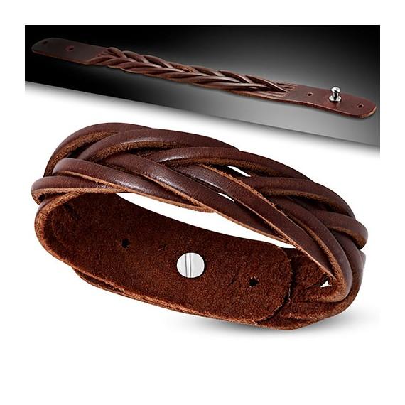 1d631077d4d5 Pulsera marrón de cuero auténtico trenzada