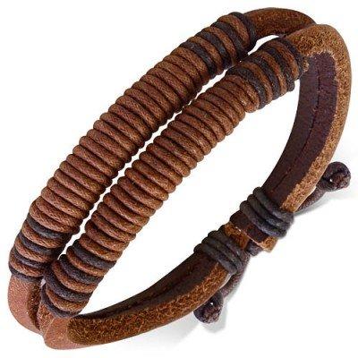 Pulsera marrón de cuero auténtico, regulable, hombre