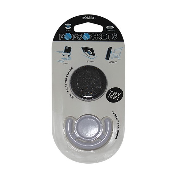 Popsocket negro con purpurina, accesorio para móviles, se pega en la parte trasera para hacer fotos