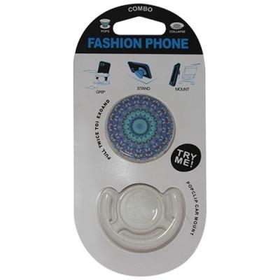 Popsocket mandala azul oscuro, accesorio para móviles, se pega en la parte trasera para hacer fotos
