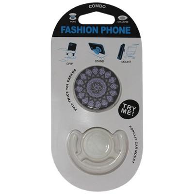 Popsocket mandala color lila, accesorio para móviles, se pega en la parte trasera para hacer fotos