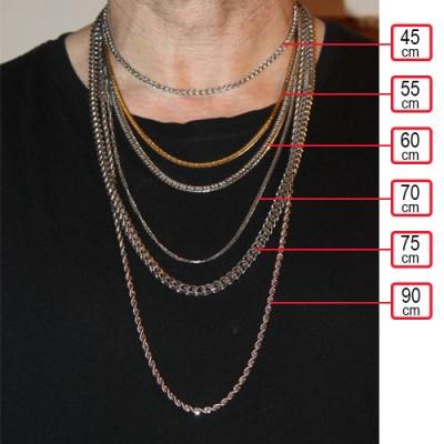 Cadena hombre de acero quirúrgico inoxidable de la mejor calidad, 60cm de largo y 5,5mm de ancho.
