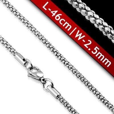 Cadena mujer de acero quirúrgico inoxidable de la mejor calidad, 46cm de largo y 2,5mm de ancho.