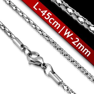 Cadena mujer de acero quirúrgico inoxidable de la mejor calidad, 45cm de largo y 2mm de ancho.
