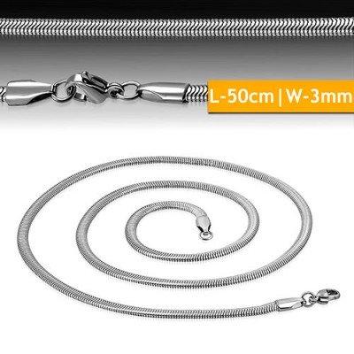 Cadena mujer de acero quirúrgico inoxidable de la mejor calidad, 50cm de largo y 3mm de ancho.