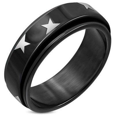 Anillo antiestres hombre de acero inoxidable quirúrgico negro con estrellas, 8mm de ancho. Calidad