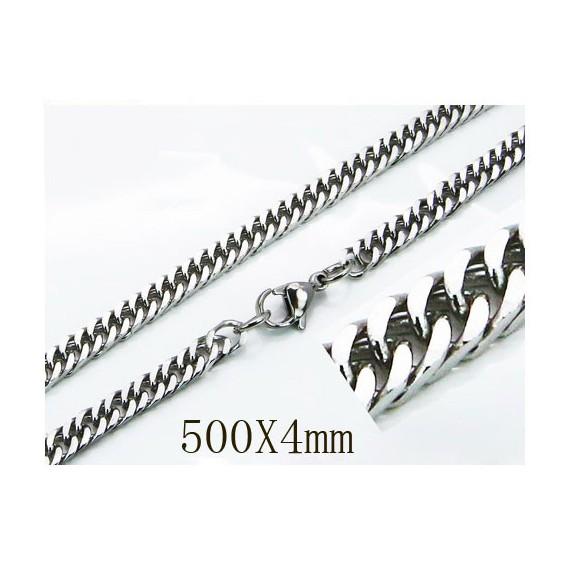Cadena hombre de acero quirúrgico inoxidable de la mejor calidad, 50cm de largo y 4mm de ancho.