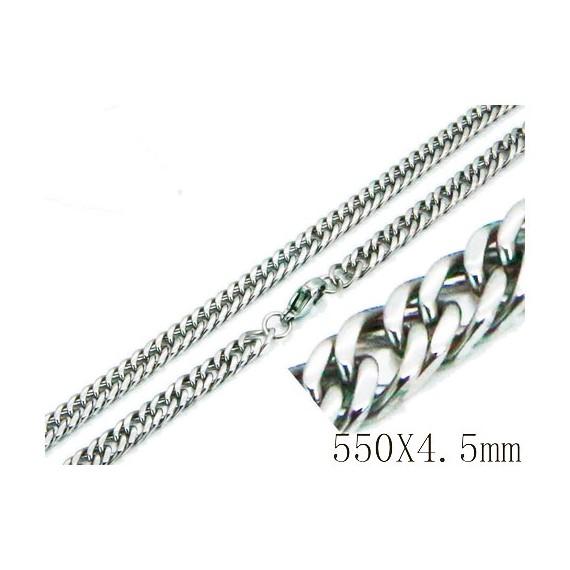 Cadena hombre de acero quirúrgico inoxidable de la mejor calidad, 55cm de largo y 4,5mm de ancho.