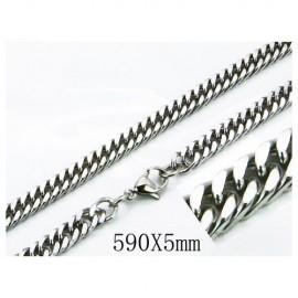 Cadena hombre de acero quirúrgico inoxidable de la mejor calidad, 59cm de largo y 5mm de ancho.