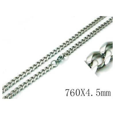 Cadena hombre negra de acero quirúrgico inoxidable de la mejor calidad, 76cm de largo y 4,5mm de ancho.