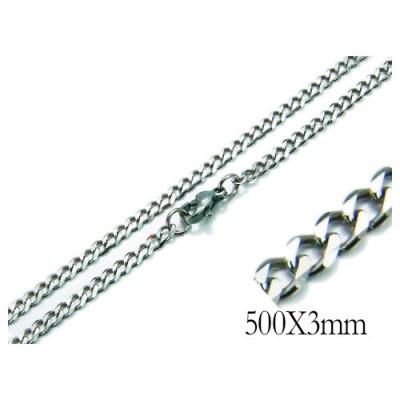 Cadena hombre de acero quirúrgico inoxidable de la mejor calidad, 50cm de largo y 3mm de ancho.