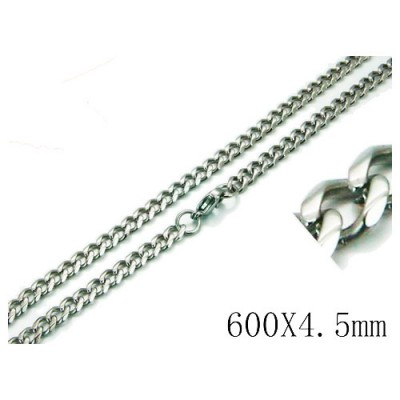 Cadena hombre de acero quirúrgico inoxidable de la mejor calidad, 60cm de largo y 4,5mm de ancho.